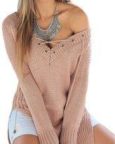 SEBOWEL Women Side Split V Neck Knit Lace Up Loose Pullover Sweater Jumper Top