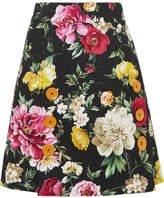 Dolce & Gabbana Button-detailed Floral-jacquard Mini Skirt