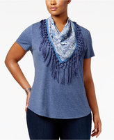 Style&Co. Style & Co Plus Size T-Shirt with Fringe Scarf, Only at Macy's