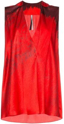 Poiret Sleeveless printed V-neck silk blouse
