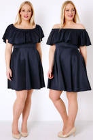 Yours Clothing PRASLIN Navy Frill Bardot Skater Dress
