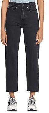 Sandro Jayn High-Rise Straight-Leg Ankle Jeans in Black