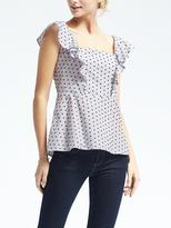 Banana Republic Dobby Flounce-Shoulder Top