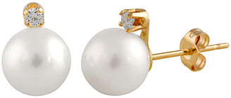 Splendid Pearls 14K Diamond & 7-7.5Mm Freshwater Pearl Earrings