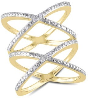 Miadora Yellow Plated Sterling Silver 1/10ct TDW Diamond Double Criss-cross Ring - White