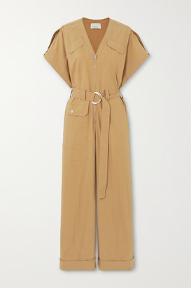 3.1 Phillip Lim Space For Giants Belted Organic Cotton-blend Twill Jumpsuit - Camel