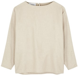 Mark Kenly Domino Tan Birthe Stone Brushed Cotton-twill Top