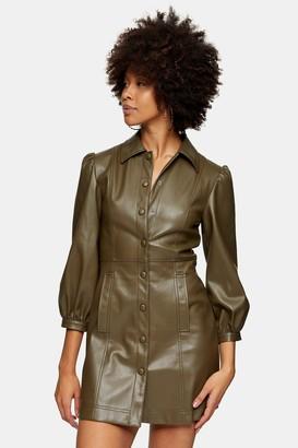 Topshop Womens Khaki Pu Shirt Mini Dress - Khaki