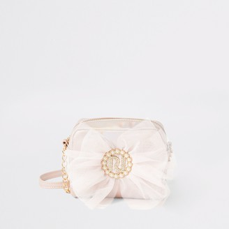 River Island Girls Pink metallic RI bow cross body bag