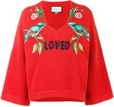 Gucci Loved bird embroidered top - women - Wool - XS