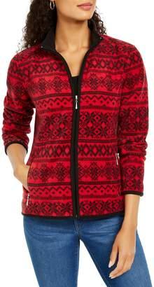 Karen Scott Printed Zip-Front Jacket