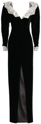 Alessandra Rich Lace-Embellished Velvet Gown