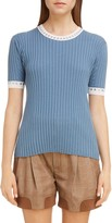 Chloé Grommet Trim Silk & Cotton Rib Sweater