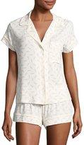 Eberjey Plume of Love Short Pajama Set, Gray/White