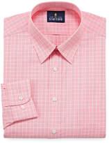 STAFFORD Stafford Travel Performance Super Shirt - Big And Tall Long Sleeve Broadcloth Grid Dress Shirt