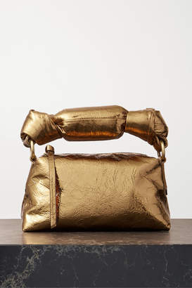 Dries Van Noten Pillow Mini Metallic Crinkled-leather Tote - Gold