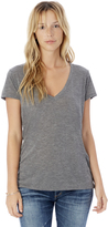 Alternative Slinky Melange Burnout Jersey V-Neck T-Shirt