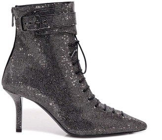 Philosophy di Lorenzo Serafini Rhinestone Ankle Strap Lace Up Boots