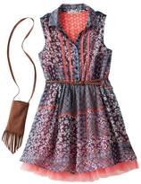 Knitworks Girls 7-16 Printed Chiffon Skater Dress with Belt & Crossbody Purse