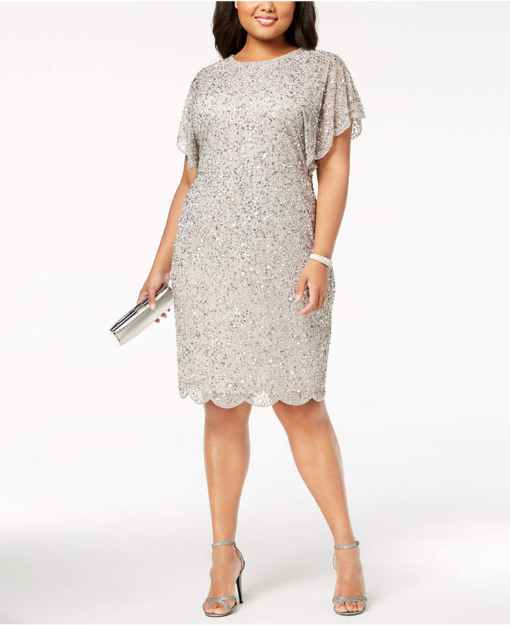 Adrianna Papell Plus Size Beaded Flutter-Sleeve Dress