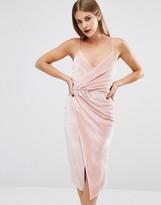 Boohoo Velvet Strappy Wrap Midi Dress