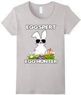 Women's Eggspert Egg Hunter Easter Shirt Boys Girls Cool Bunny XL