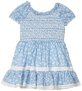 Polo Ralph Lauren Floral Smocked Cotton Dress (Toddler) (Blue/White) Girl's Clothing