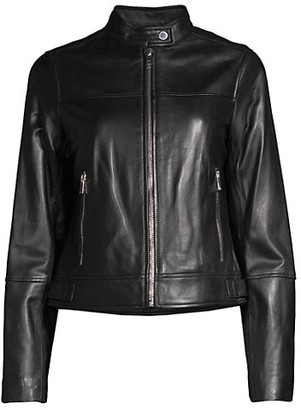 Derek Lam Tab Collar Horizontal Seam Leather Jacket