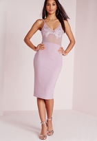 Missguided Embroidered Bust Detail Bodycon Dress Lilac