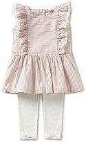 Edgehill Collection Baby Girls 12-24 Months Striped Linen Top & Leggings Set