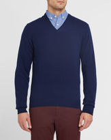 Hackett Navy V-Neck Contrasting Elbow Patches Sweater