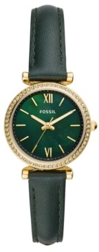 Fossil Women's Mini Carlie Green Leather Strap Watch 28mm