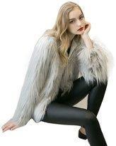 LUNIWEI Women Ladies Warm Faux Fur Fox Coat Jacket Winter Parka Outerwear
