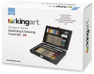 Kingart 29-Piece Designer Series Sketching & Drawing Travel Collection in Black Leather Case