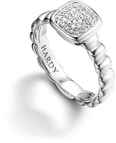 John Hardy Bedeg Silver Square Station Slim Ring with Diamond Pavé