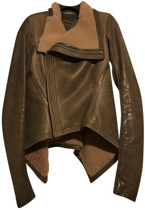 Rick Owens Brown Wool Leather Jacket for Women