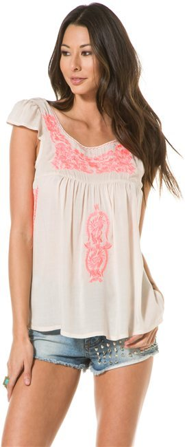 Angie Embroidered Peasant Top