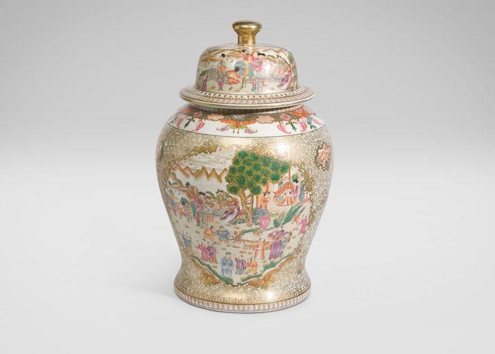 Ethan Allen Scenic Porcelain Temple Jar