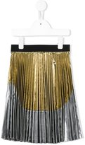 No21 Kids pleated metallic skirt