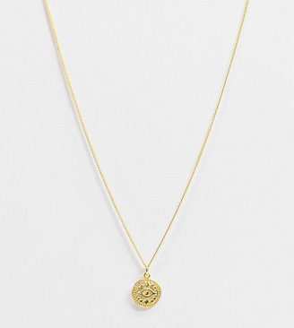 Reclaimed Vintage inspired sterling silver gold plated necklace with coin pendant with eye detail