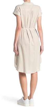 Como Vintage Linen Blend Waist Tie Dress