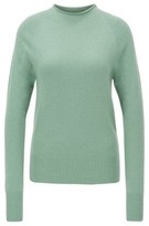 HUGO BOSS - Regular Fit Sweater With Funnel Neck In Pure Cashmere - Light Green