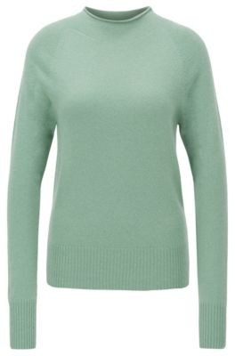 HUGO BOSS Regular Fit Sweater With Funnel Neck In Pure Cashmere - Light Green