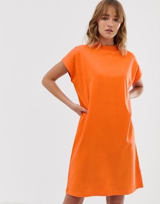Weekday high neck t-shirt dress in bright orange