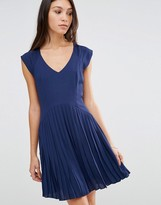 Traffic People Blousie Dress With Pleated Skirt