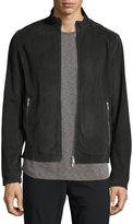 Theory Suede Zip Track Jacket, Charcoal