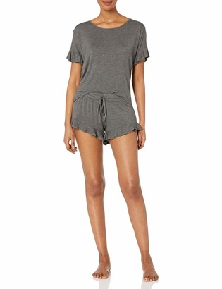 Mae Amazon Brand Women's Sleepwear Ruffled Sleeve Shirt and Short Pajama Set
