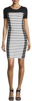 MICHAEL Michael Kors Short-Sleeve Striped T-Shirt Dress, White/Black