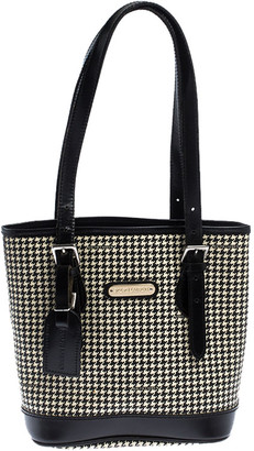 Ralph Lauren Black/White Canvas and Leather Houndstooth Tote