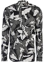 Diesel S-dorado Camo Leaf Print Long Sleeve Shirt, Black/multi